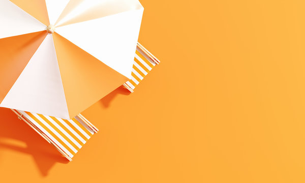 Top view beach umbrella with beach chairs on orange background. summer vacation concept. 3d rendering