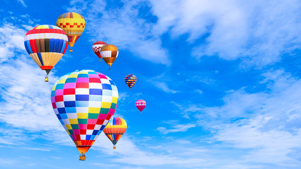 Photo sur Aluminium Montgolfière / Dirigeable Colorful hot air balloon fly over blue sky 2