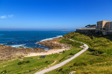 Baiona, Spain. Scenic view of the city, coast, walls of the fortress of Monterreal