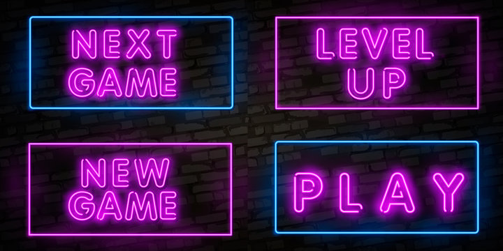Realistic isolated neon sign of New Game, Level Up and Game Over, Battle logo for template decoration and covering on the wall background. Concept of gaming.
