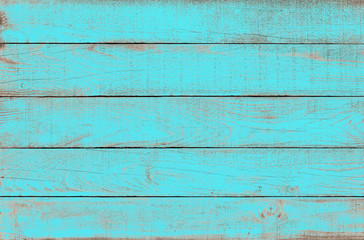 Old weathered wooden plank painted in turquoise blue color. Vintage beach wood background. Wall mural