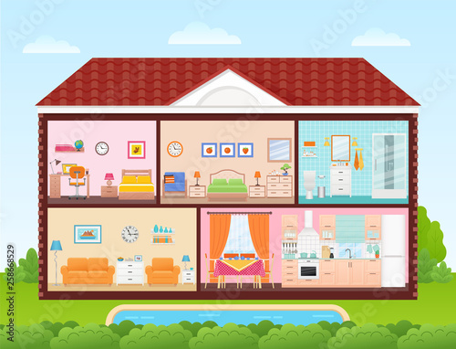 House Inside Interior Vector Home Cross Section With