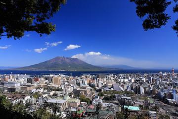 城山展望台から見た桜島と鹿児島市街地
