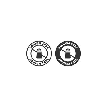 Sodium free  food ingredient circle label icon set. Sodium free vector badge sticker set for packaging.