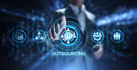 Outsourcing Global Recruitment Business and internet concept.