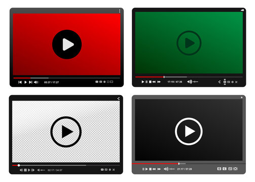 Set Of Modern Video Player. Black, Red, Green Design Template For Web And Mobile Apps Flat Style. Vector Illustration. Isolated On White Background.