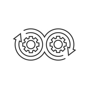 Development icon in flat style. Devops vector illustration on white isolated background. Cog with arrow business concept.