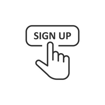 Sign up icon in flat style. Finger cursor vector illustration on white isolated background. Click button business concept.