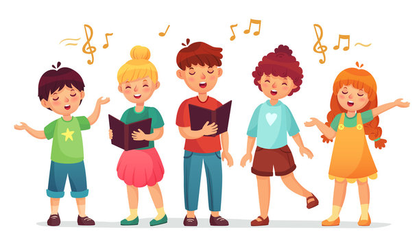 Singing kids. Music school, kid vocal group and children choir sing cartoon vector illustration