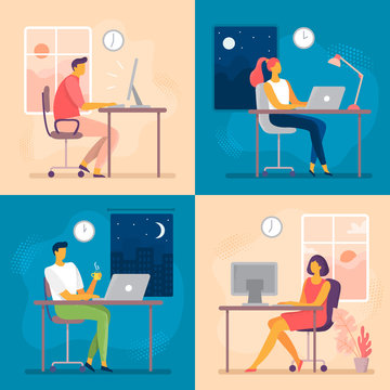 Day or night work. Working late, overtime office works and computer worker nights. Lark and owl workflow flat vector illustration
