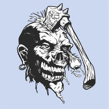 Cartoon zombie with axe in his head - Vector illustration