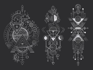 Abstract magical tattoo. Sacred geometric moon, mystic revelation arrows lines and mysticism harmony hand drawn vector illustration Fotoväggar