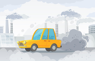 Foto op Plexiglas Cartoon cars Car air pollution. City road smog, factories smoke and industrial carbon dioxide clouds vector illustration