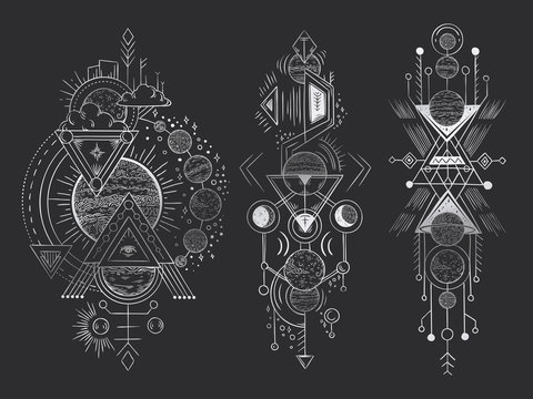 Abstract magical tattoo. Sacred geometric moon, mystic revelation arrows lines and mysticism harmony hand drawn vector illustration