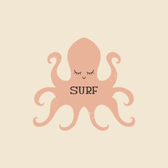 Surfing theme, t-shirt or poster print with hand drawn octopus and surf lettering, cut out text, vector