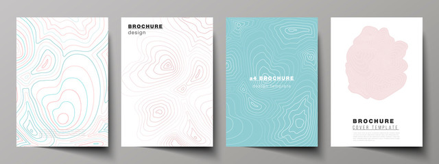 The vector illustration of editable layout of A4 format cover mockups design templates for brochure, magazine, flyer, booklet, annual report. Topographic contour map, abstract monochrome background. Wall mural