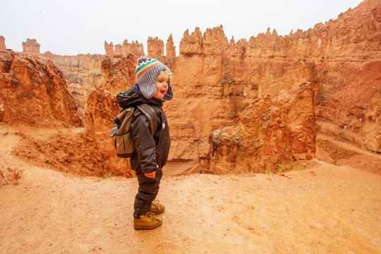 Boy hiking in Bryce canyon National Park, Utah, USA
