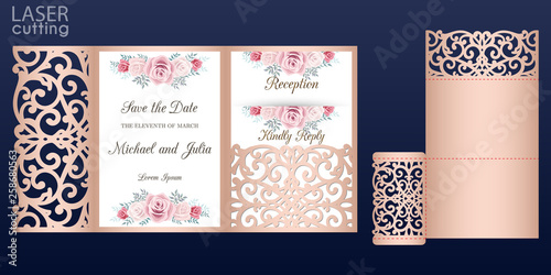 Laser Cut Wedding Invitation Card Vector Template Tri Fold