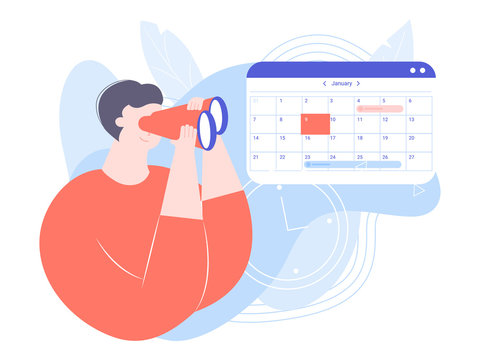 Nice guy looking through binoculars. Calendar with the selected date. Appointment of meetings, planning a month, search for a free day. Vector illustration.