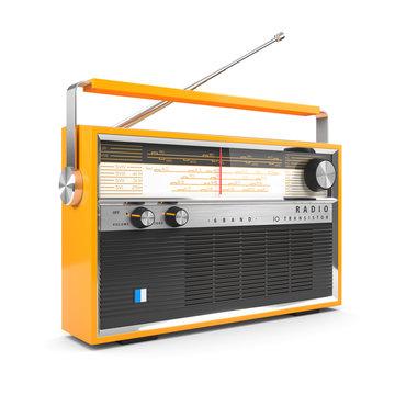 Portable orange transistor radio receiver. Isolated on white background 3d