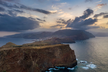 Fototapete - Beautiful mountain landscape of Madeira island, Portugal, at sunset. Aerial view on Ponta do Sao Lorenzo.