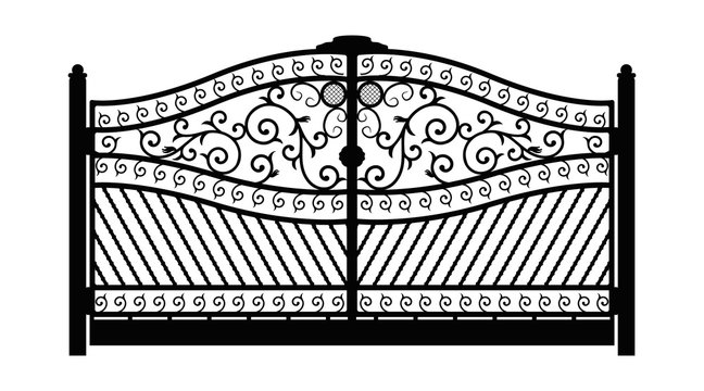 Forged gate. Architecture detail. Black forged gate with decorative lattice isolated on white background. Vector EPS10