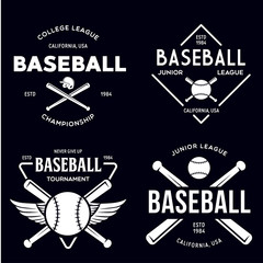 Set of vintage baseball typography emblems, sports logos and design elements. Logotype templates and badges.
