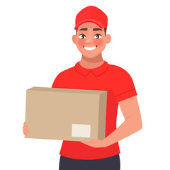 Courier with the parcel. A delivery man in red uniform holds a cardboard box in his hands