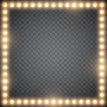 Abstract frame with glowing light bulbs on simple background, vector illustration