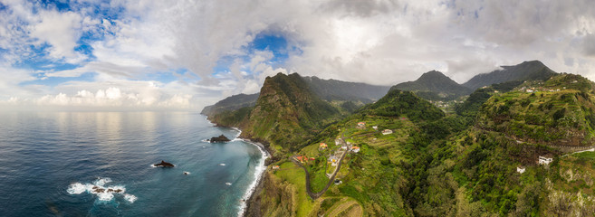 Wall Mural - Beautiful mountain landscape of Madeira island, Portugal. Aerial panorama view.