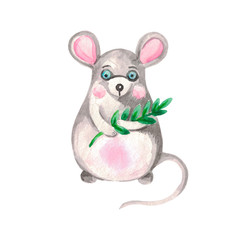 Watercolor illustration of a gray mouse on a white isolated background Hand-painted symbol of the year