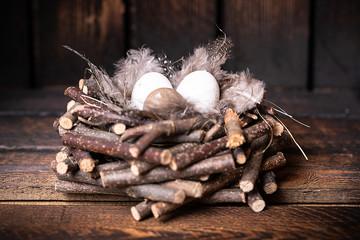 Nest mit Eiern vor Holzhintergrund
