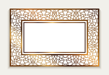 Gold rectangle frame, invitation card with lace border pattern
