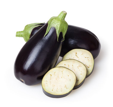 Fresh eggplants isolated on white background with clipping path