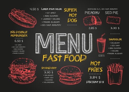 Fast food menu cover layout with breakfast, drinks, and other menu items on chalkboard. Fast food menu design and fast food hand drawn vector illustration. Restaurant menu template with burger sketch.