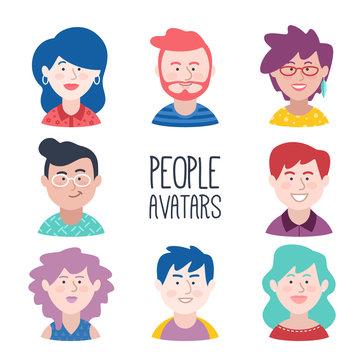 Conjunto de avatares de jovenes