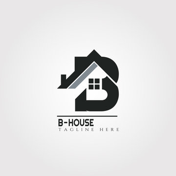 House icon template with B letter, home creative vector logo design, architecture,building and construction, illustration element