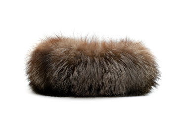 Brown animal fur isolated on white background Wall mural