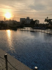 Sunset at Pool of Luxurious Hotel