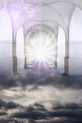 Wall Mural - mystical mystic divine gate with rays of light like magic religious esoteric  background