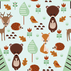 seamless pattern with forest animals - vector illustration, eps
