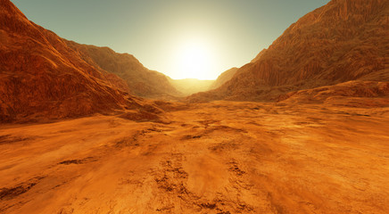 Wall Mural - Sunset on Mars. Martian landscape, dry river bed on Mars
