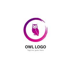 Owl logo template design. Owl logo with modern frame vector design