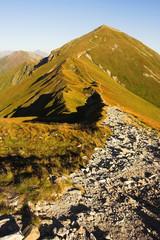 The stony way on the mountain ridge at the border between Poland and Slovakia