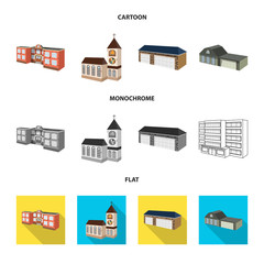 Vector illustration of facade and housing symbol. Set of facade and infrastructure vector icon for stock.