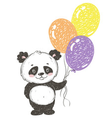Cute panda bear with balloons