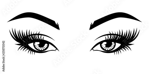 Eyelash extension logo  Vector illustration of eyes with