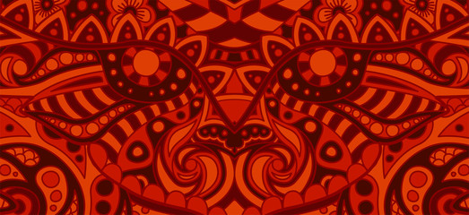 Red pattern with flaming evil decorative face