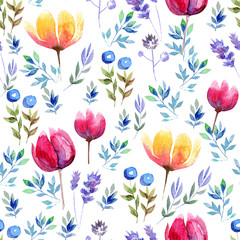 Seamless watercolor background with herbs and flowers of california poppy and tulips