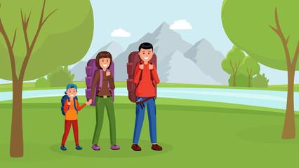 Fotobehang Superheroes Family camping flat style vector illustration